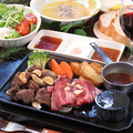 料理メニュー写真黒毛和牛ロースステーキ(60g)&フィレステーキ(80g)
