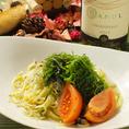 ちりめんと大葉とトマトのペペロンチーノ (730円 税別)