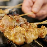 炭火で焼きあげる串、炙りは絶品