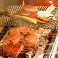 群馬県の楢木を使用した黒炭を使用しています。厳選肉や新鮮群馬県産野菜は国産炭独特の香りをお楽しみいただけます。