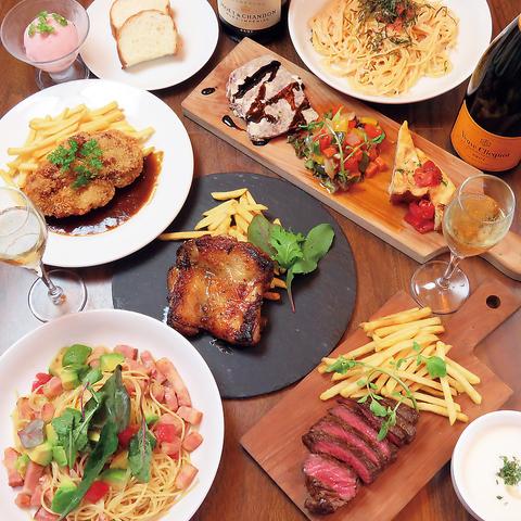 【大人気】グレンランプ,糸島豚,メインとパスタが選べるコース【料理のみ7品】+1375円で2H飲放も