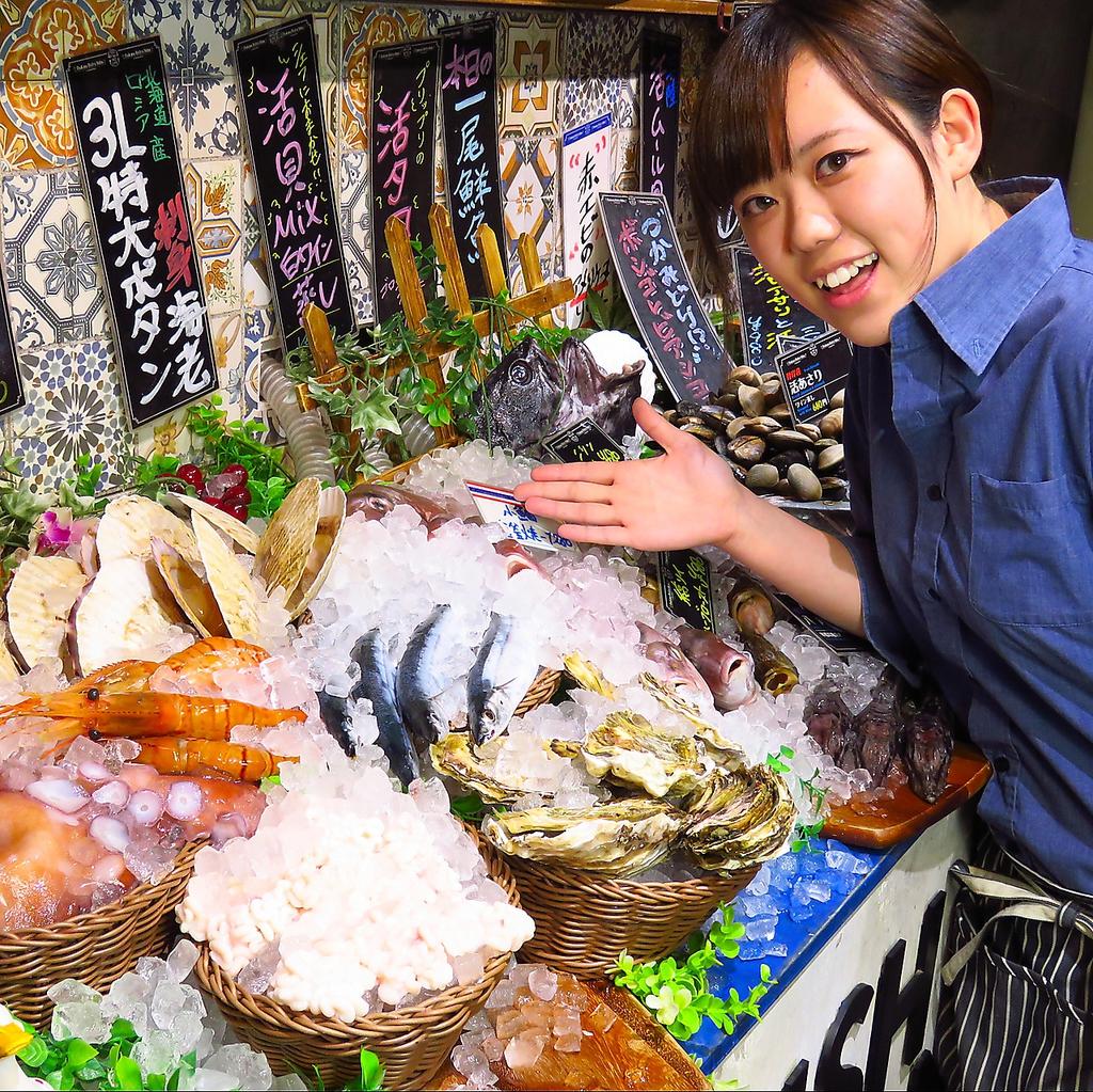 漁師直送!活〆や活きた新鮮な旬の魚介を常備15種類以上取り揃えています!