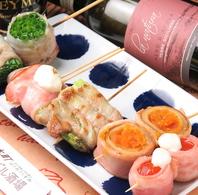 名物の新鮮野菜のベジ豚ぐる串!