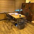 4名様のテーブル席です。テーブルの移動・連結が可能ですので、お客様の人数に合わせたお席をご用意します。