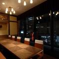 夜景のテーブル個室は最大14名、同窓会向け