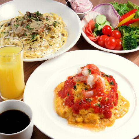 【OYOBA-RE★ランチコース1200円】選べるメイン&サラダ&ドリンクバー&ジェラート付