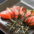 """是非ご賞味頂きたい""""明太子の藁焼き""""!上品な塩味に藁焼きの香りが相まって至極の味わいに。日本酒とともにどうぞ。"""