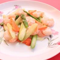 アスパラと海老の炒め物