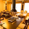 【4名様テーブル席】幅広いシーンの飲み会にお使いいただけるお席となっております。ドリンクメニューも、ビール・ハイボール・焼酎など豊富に取り扱っております。
