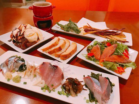 コスパ良し☆女子に人気! 鮮魚推しおつまみ&デザートセット《2000円