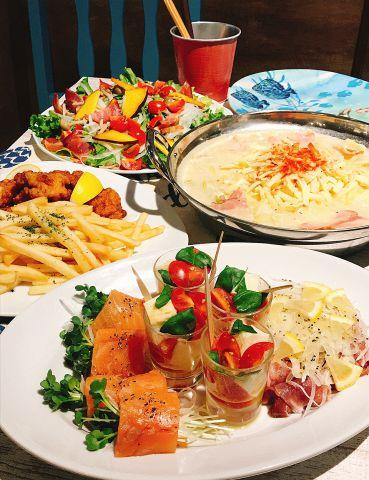 Pokeの温か鍋コース【チーズと豆乳鍋】全7品+1500円で飲み放題!