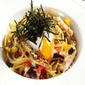 料理メニュー写真たこと野菜と温たまの和風パスタ