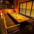 ●人目を気にせず落ち着いた雰囲気でご宴会やお食事をお楽しみください。プライベートシーンでご利用頂ける個室~最大40名様以上でのご宴会にも対応可能です
