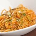 料理メニュー写真海老とアスパラのトマトクリームスパゲッティ