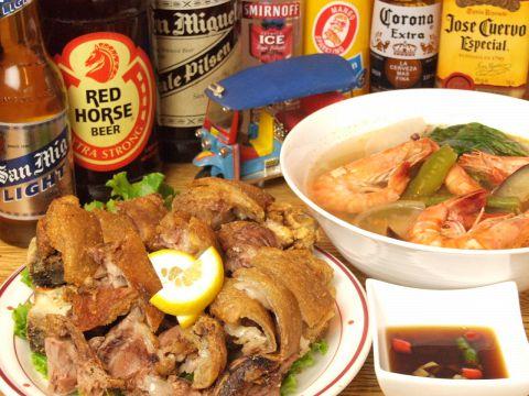 珍しいフィリピン料理各種揃ってます♪ビールも飲み比べしてみてください♪