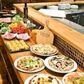 ランチビュッフェはピザ・新鮮サラダ・手作りの前菜など食べ放題!お好きなものをお好きなだけお召し上がりください。ビジネスランチにぴったりの平日限定45分クイックビュッフェ880円、90分ランチタイムビュッフェ(平日)1,080円/(土日祝)1,280円!税込でのご案内です。追加でドリンクバー、パスタ、ビステッカもOK!