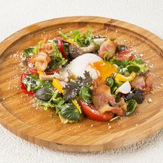 料理メニュー写真とろとろ半熟玉子とカリカリベーコンのシーザーサラダ