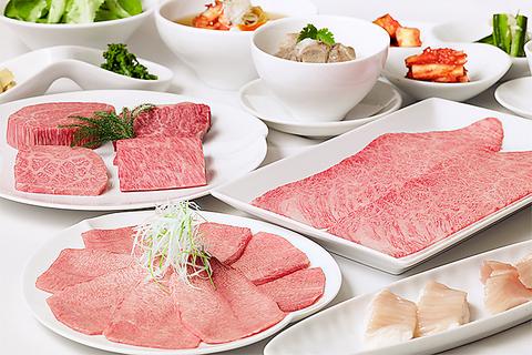 肉質で選び抜いたA5黒毛和牛が味わえる。