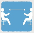 社会的距離でのお席のご案内※グループ間で距離を空ける、ジグザグ着席での推奨など。