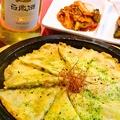 料理メニュー写真海老じゃがチヂミ、ニラチヂミ、キムチチヂミ、納豆チヂミ