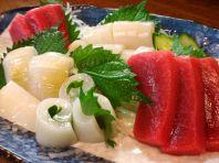 秋刀魚刺し、秋鮭、生牡蠣