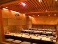 60名まで収容できる宴会場はダウンライトがオシャレな個室空間。会社の宴会やコンペなど様々なシーンにご利用下さい!