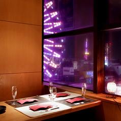 夜景を堪能できるVIP個室