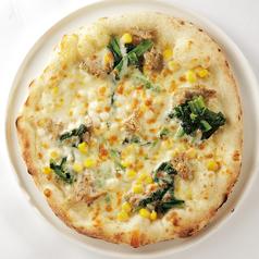 ほうれん草とツナのクリームピザ