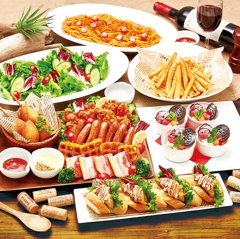 ルーム料金3時間+お料理6品【お肉を満喫!肉盛りコース】2200円+1650円で飲み放題付