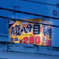 神田駅から望む巨大な「腹八分目」の看板が…
