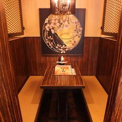 いくたは個室席を多くご用意しております。隠れ家的なお席でゆっくりお食事をお楽しみください。