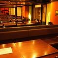 テーブル席&座敷の仕切りを外すと地域最大級100名様までOK!!大人数のご予約に最適です。