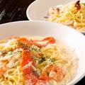 料理メニュー写真サーモンと海老のクリームチーズパスタ 生パスタ