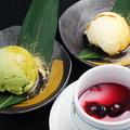 料理メニュー写真抹茶アイス/バニラアイス/ストロベリーアイス/林檎シャーベット