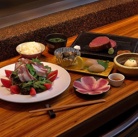 カジキマグロと和牛赤身ステーキコース 5,500円(税込)