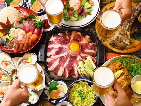 絶品[牡蠣しゃぶ]or{鴨すき鍋}宴会コース3480円!その他コースも3000円~多数