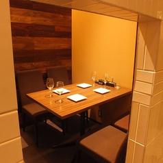 個室席。4名様用です。落ち着いた空間で美味しいディナーをお楽しみ下さい♪