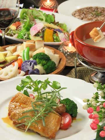寛ぎの空間で熟成野菜を使ったイタリアンMENUとチーズフォンデュが大人気