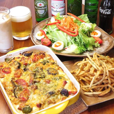 【生ビールも飲み放題】夜カフェ3時間飲み放題付きコース4300円(税込)