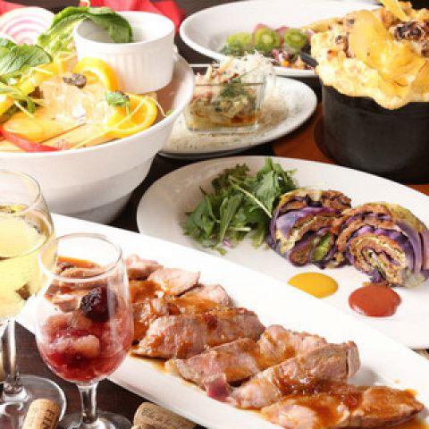 〜名物の塊肉グリルやデザート付き〜豚バルOコース(10品2.5h飲放付)5980円