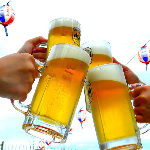 夏の夜は『テラスでビール』が最強です 無制限食べ飲み放題が驚異のコスパ!!