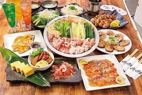 《宴コース》肉、魚、鍋等全8品★2時間飲み放題付き2980円(税込)