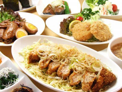 名物<和かつ>が入った2H飲放付10品ままやコースがお薦め★旬野菜のお惣菜が美味しい。