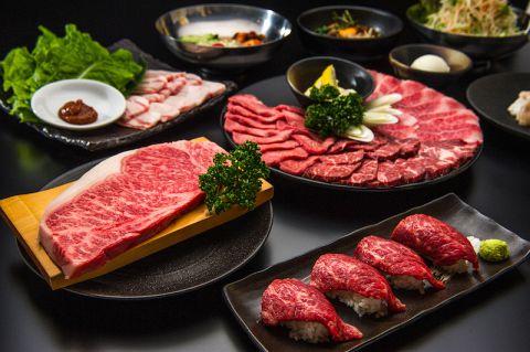 炙り肉寿司とサーロインステーキが楽しめるコース 4000円(税込)