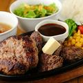 料理メニュー写真ステーキ&ハンバーグ 総重量400g