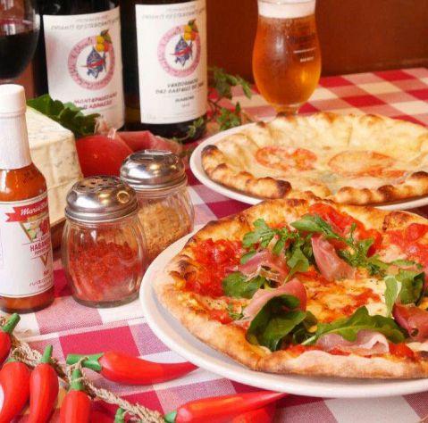 【毎週火曜日ディナー】生ビール&ハウスワイン&ピザ半額サービス!
