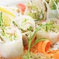 【サラダ】蒸し鶏の生春巻き