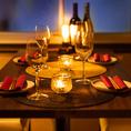店内はシックな雰囲気のある落ち着いた空間が広がっています。ゆったりとしたお席をご用意しております。柔らかな照明の光が漂う空間はデートや女子会にも大好評です!当店イチオシのお料理とワインとともに皆さまでお楽しみください♪