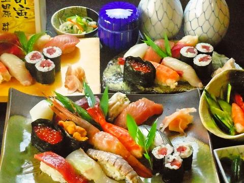昔ながらの職人が握る絶品の寿司。お米から付合せの野菜にまでこだわり自家製を使う。