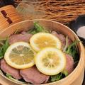 料理メニュー写真瀬戸もみじ豚タンの柔らかレモン蒸し蒲刈の藻塩で
